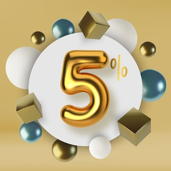 5 off discount promotion sale made of 3d gold text number in the form of golden balloons