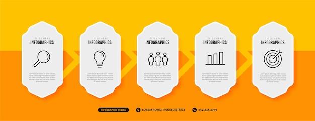 5 вариантов инфографического шаблона на желтом фоне, бизнес-процесс с концепцией нескольких шагов