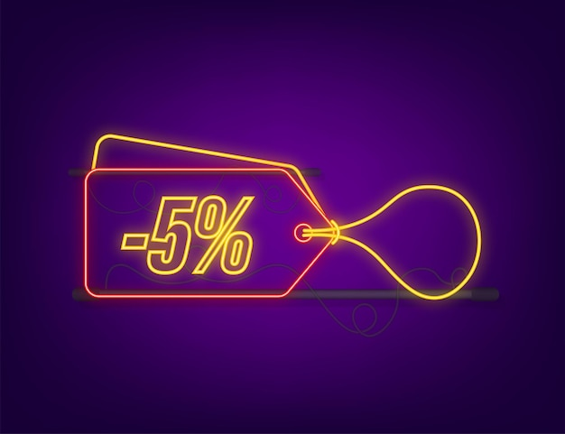 5 percent off sale discount neon tag. discount offer price tag. 10 percent discount promotion flat icon with long shadow. vector illustration.