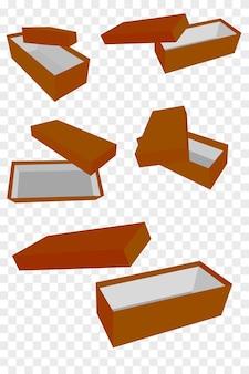 透明効果の背景で、5つの視点のシンプルなベクトルモックアップ茶色の靴箱