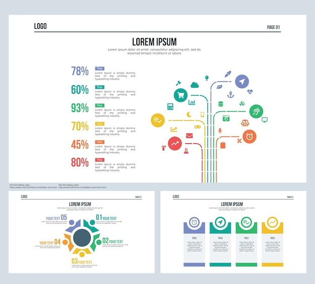 Симпатичная сфера 5 элементов набора слайдов представления и шаблона powerpoint