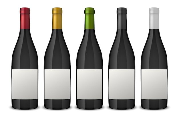 5 realistic black wine bottles with white labels isolated on white background.