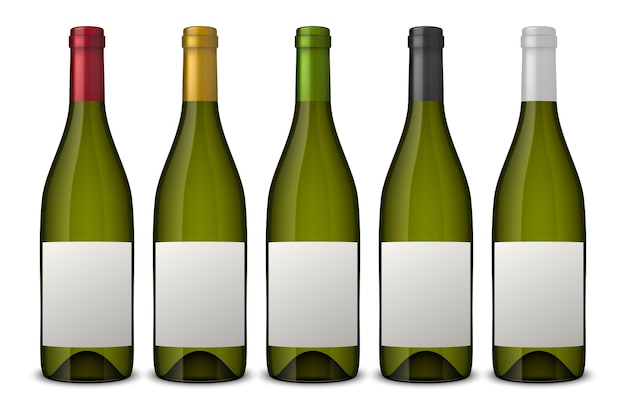 5 realistic green wine bottles with white labels isolated on white background.