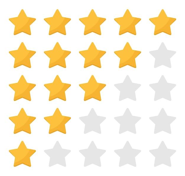 흰색 배경에 평면 디자인의 5개의 둥근 별 등급. 별점수집. 벡터 일러스트 레이 션