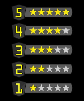5 rows with stars of different numbers of yellow on black.