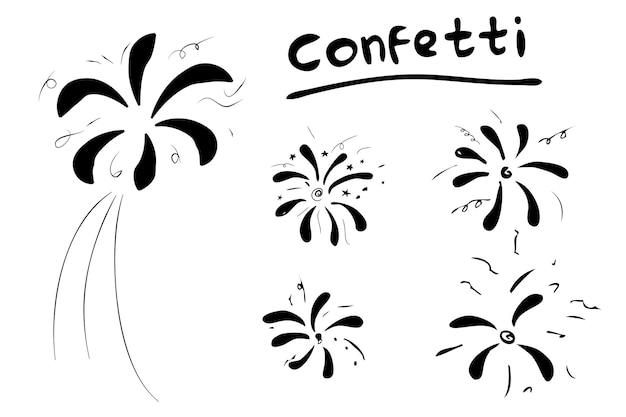 5シンプルなベクトル手描き落書き紙吹雪