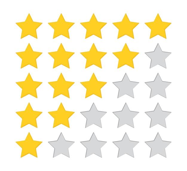 별 5개. 5개의 리뷰 아이콘입니다. 노란색, 회색 피드백 등급 표시. 만족 황금 마크.