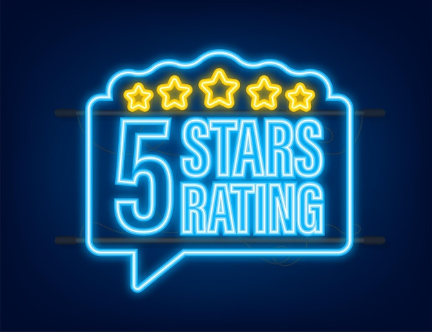 5 star rating. badge with icons on white background. neon icon. vector illustration.