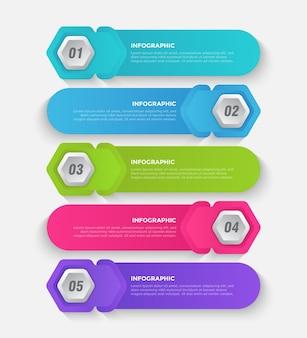 5 шагов красочный бизнес инфографический шаблон
