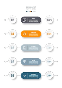 5 step process work flow infographic template