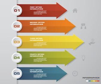 データ提示のための5つのステップの矢印テンプレート。