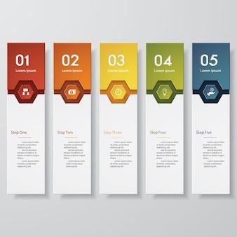 5 steps banners for data presentation