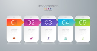 5 steps business infographic elements for the presentation