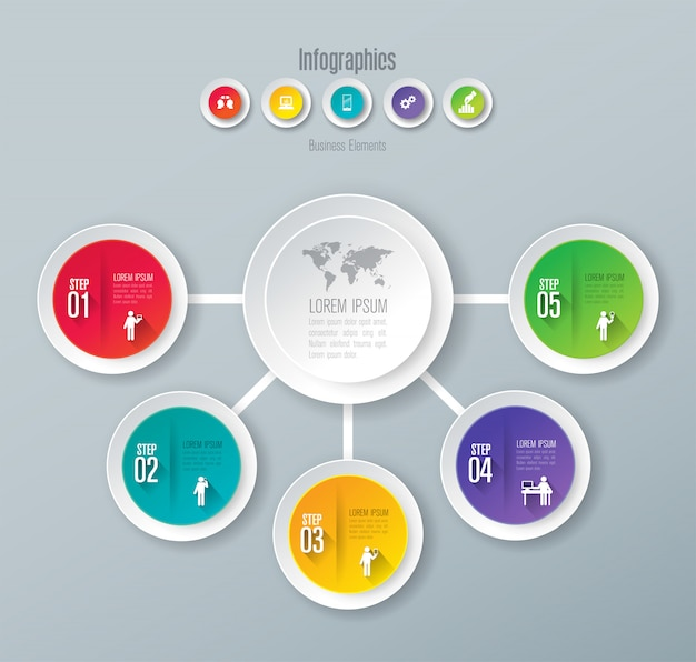 프리젠 테이션을위한 5 단계 비즈니스 인포 그래픽 요소