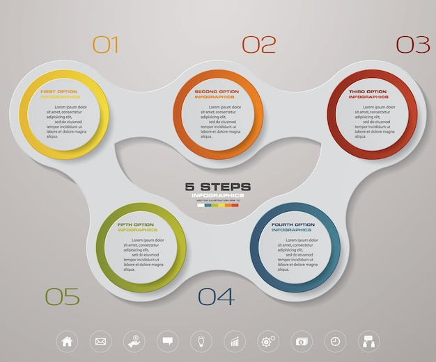5 steps chart infographics element.