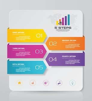 5 steps chart infographics elements for data presentation.