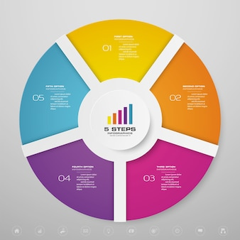 5 steps cycle chart infographics elements for data presentation.