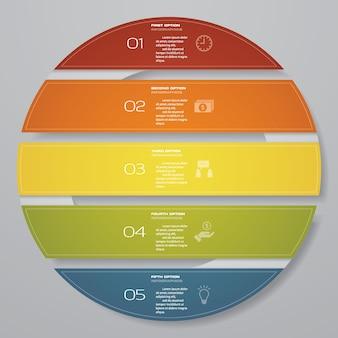 5 этапов циклической диаграммы инфографических элементов.