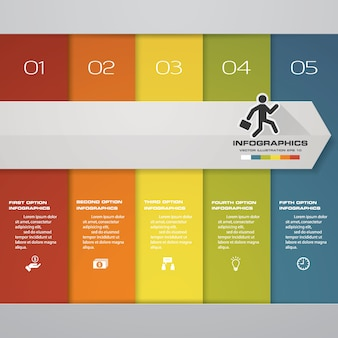 5 steps infografics template for presentation.