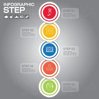 5つのステップのインフォグラフィックデザイン要素