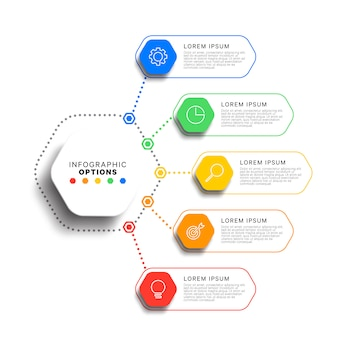 5 steps infographic template with realistic hexagonal elements. business process diagram. company presentation slide template.