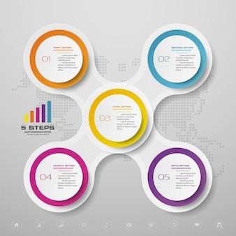 5つのステップのインフォグラフィックグラフのデザイン要素。データ表示用。