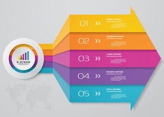 5 steps Infographics element arrow template chart
