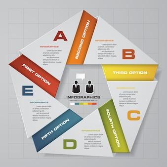 プレゼンテーションのための5段階のinfographics要素図。