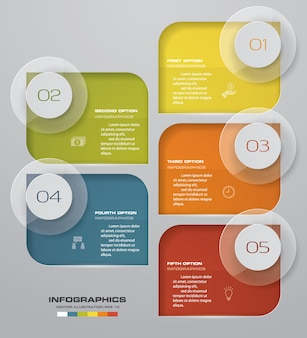5 steps infographics element chart for presentation.