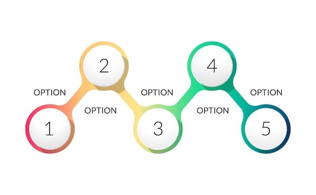 팀 워크 플로 일러스트레이션의 5 단계 인포 그래픽