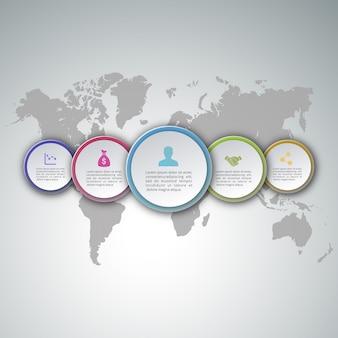 5 steps infographics on world map