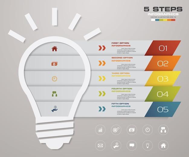 5 шагов лампочка диаграмма инфографика элементы.