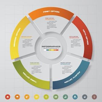 5ステップの最新の円グラフのinfographics要素。