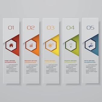 5 steps option banner for presentation.