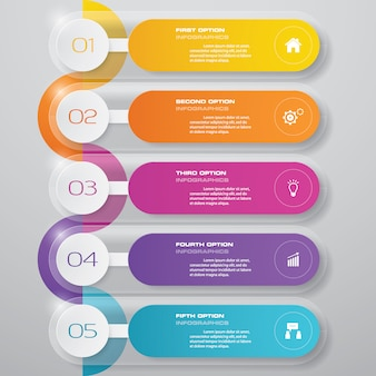 5 steps presentation chart.