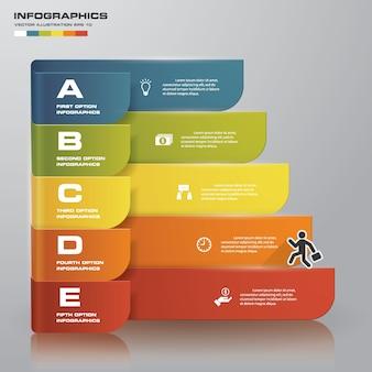 5 steps process element for presentation