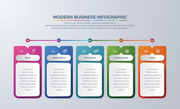 5 steps or process timeline infographic with different color