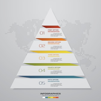 5 steps pyramid chart for data presentation.