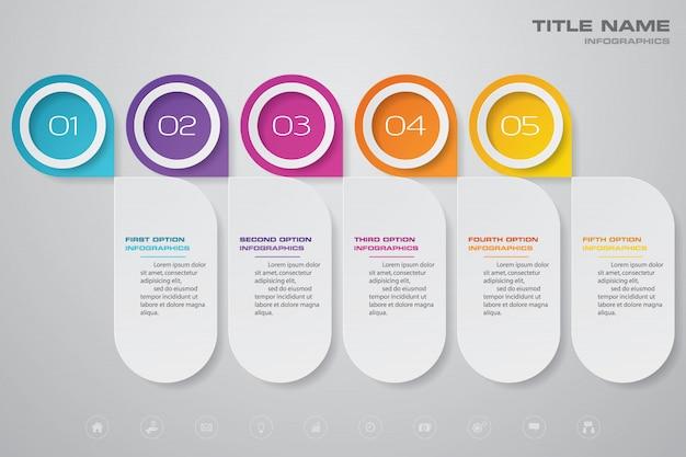 5 steps timeline chart infographic element.