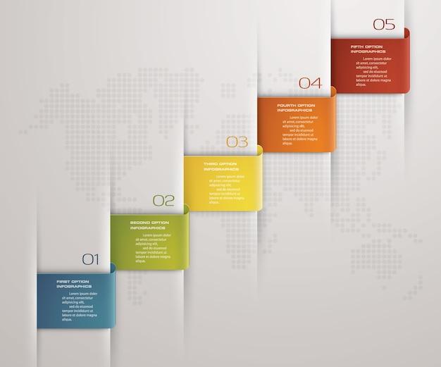 プレゼンテーションのための5つのステップタイムライン。