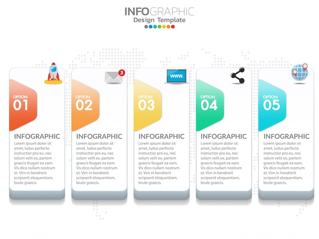 5 steps timeline infographic business concept