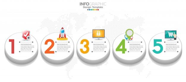 5 단계 타임 라인 infographic 디자인 및 아이콘을 워크 플로에 사용할 수 있습니다.