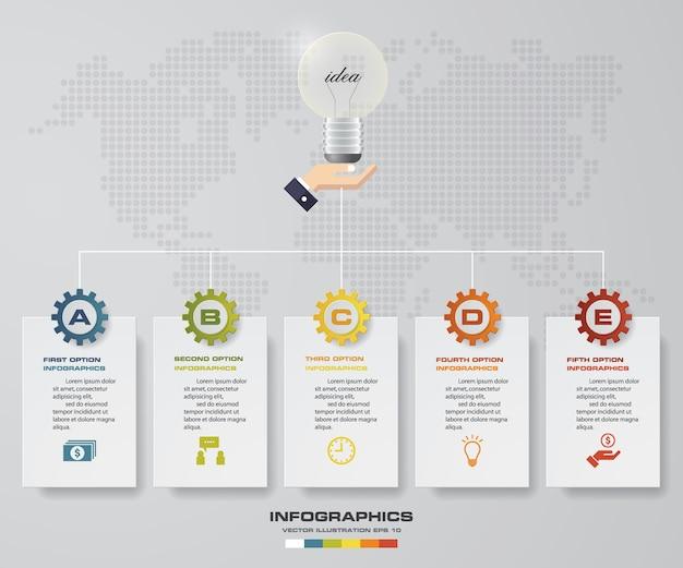 5 steps timeline infographic element for data presentation.