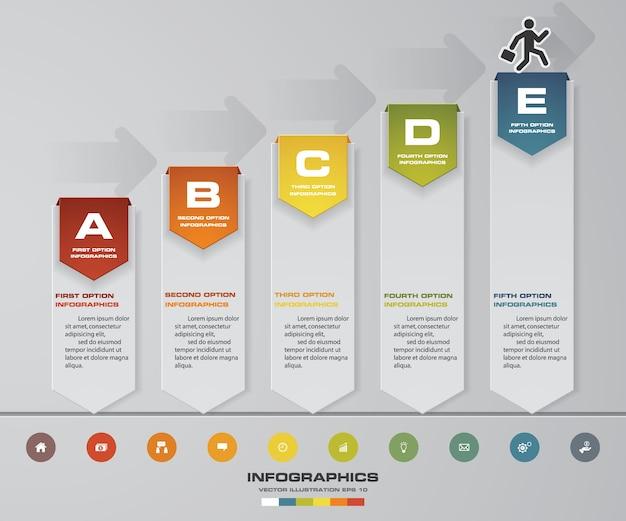 プレゼンテーションのための5つのステップタイムラインインフォグラフィック要素