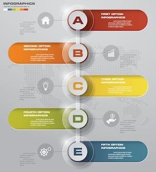 タイムラインの5つのステップinfographic要素。