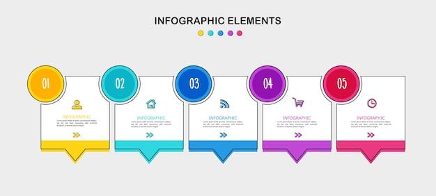 Шаблон оформления инфографики временной шкалы 5 шагов