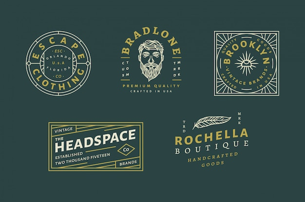 5 vintage logo set vol 02 - escape clothing logo - brandone custom premium quality logo - vintage brand logo - rochella boutique fully editable text, color and outline