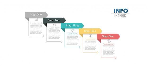 5つのオプションまたは手順を持つインフォグラフィック要素。プロセス、プレゼンテーション、図、ワークフローレイアウト、情報グラフ、webデザインに使用できます。