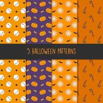5つの異なるハロウィーンのベクトルパターン。壁紙、パターンの塗りつぶし、webページ、背景、表面に無限のテクスチャを使用できます-ベクトル