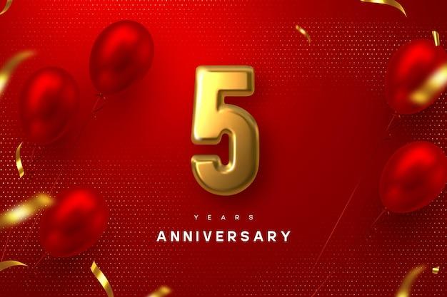 5周年記念バナー。 3dゴールデンメタリックナンバー5と赤い斑点のある背景に紙吹雪と光沢のある風船。